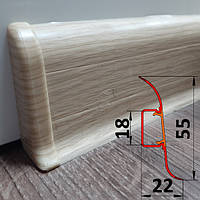 Плинтус легкосъёмный, высотой 55 мм, 2,5 м Сосна, фото 1