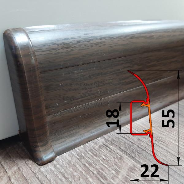 Коричневый плинтус из ПВХ, высотой 55 мм, 2,5 м Каштан