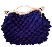 Сумка в'язана темно-синього кольору, фото 1