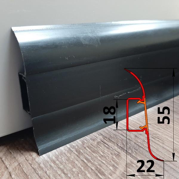 Плинтус ПВХ со скрытым креплением, высота 55 мм, 2,5 м Чёрный