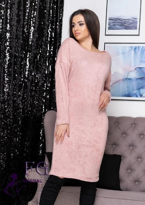 Нарядное теплое ангоровое платье до колен оверсайз розовое