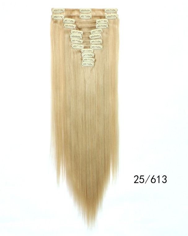 Накладні волосся тресс на 12 пасм рівні 60 см. колір мелірування на теплий блонд
