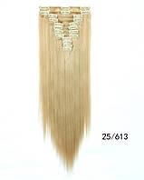 Накладні волосся тресс на 12 пасм рівні 60 см. колір мелірування на теплий блонд, фото 1