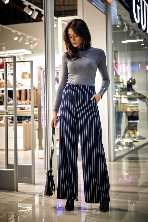 Модные брюки-кюлот в полоску (Код BR-424)