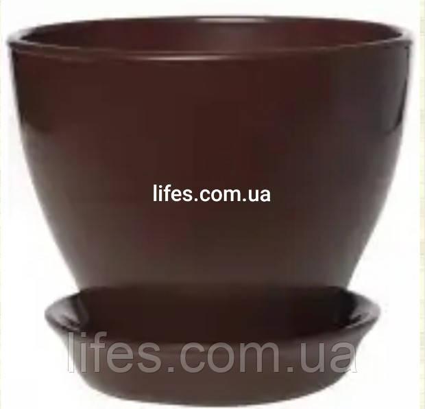 Керамический вазон шоколадный