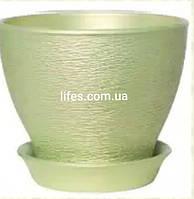Керамический вазон салатовый перламутр