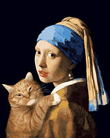 """Картина раскраска по номерам """"Девушка с жемчужной сережкой с котом"""" на холсте 40Х50 см. Babylon VP1171"""