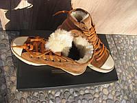 Кеды кожаные женские коричневые замшевые демисезонные