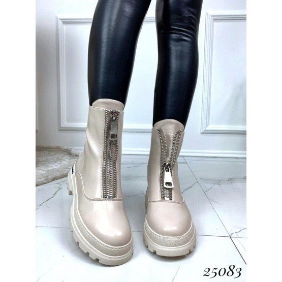 Женские ботинки бежевые пудра демисезонные кожаные на танкетке эко-кожа на флисе