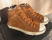Кеды кожаные женские коричневые замшевые демисезонные 37
