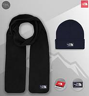 Шапка темно-синяя и шарф черный флисовый комплект мужской зимний теплый The North Face, фото 1