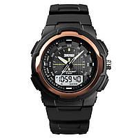 Спортивные мужские часы Skmei 1454  черные с розовым золотом