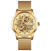Skmei 9199 золотые механические мужские часы скелетон
