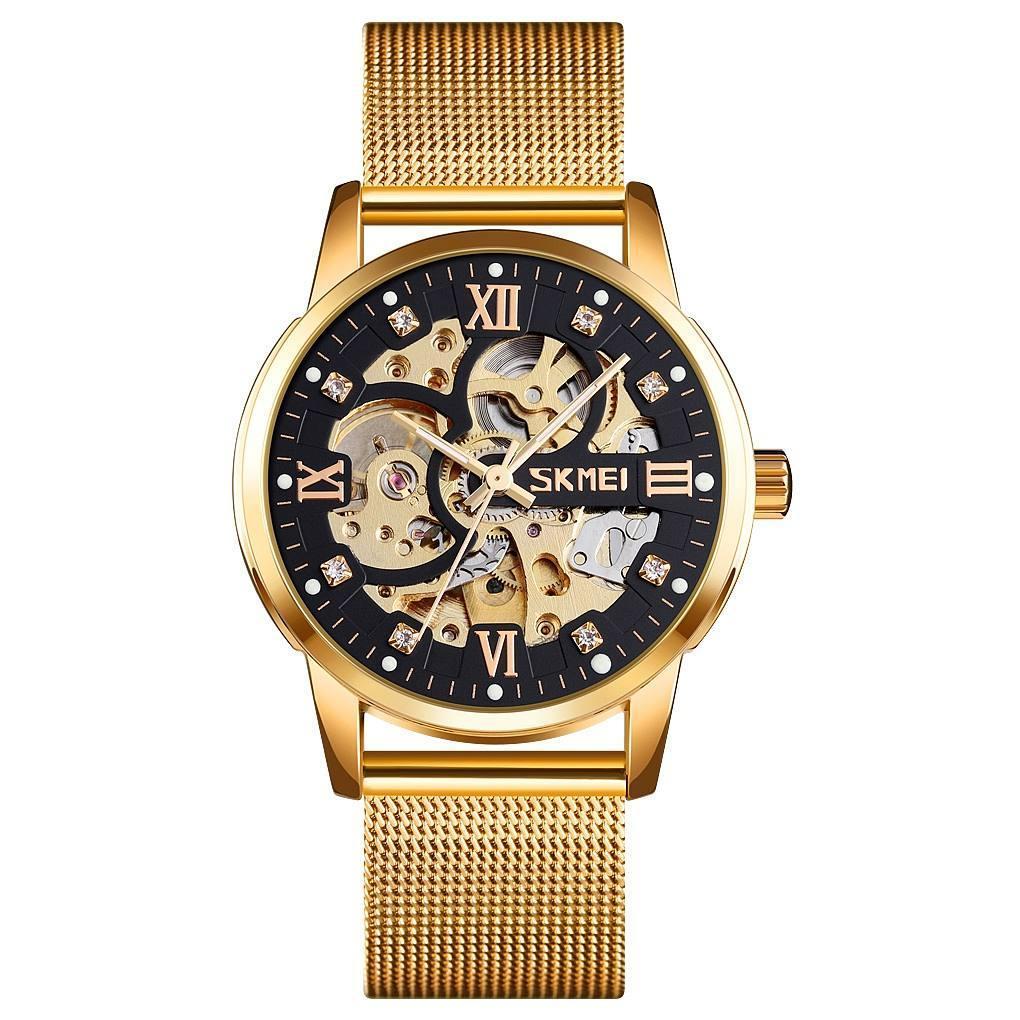 Skmei 9199 золото с черным механические мужские  часы скелетон