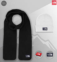 Шапка белая и шарф черный флисовый комплект мужской зимний теплый The North Face, фото 1