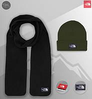 Шапка оливковая и шарф черный флисовый комплект мужской зимний теплый The North Face, фото 1