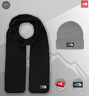 Шапка серая и шарф черный флисовый комплект мужской зимний теплый The North Face, фото 1