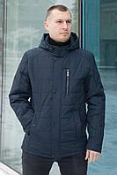 Куртка мужская демисезонная с капюшоном и тремя внешними карманами в темно-синем цвете 50-58 размер «КМ-2.2»