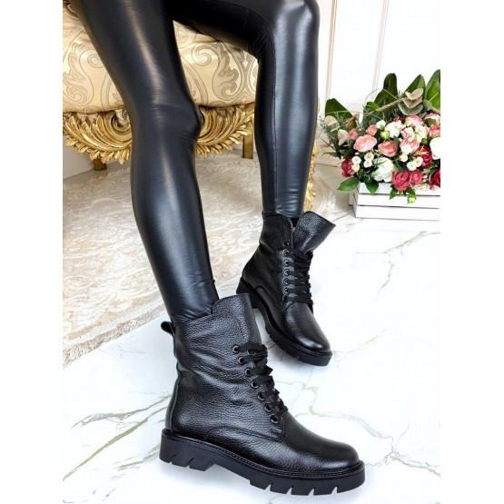 Женские ботинки черные демисезонные кожаные нат кожа на байке