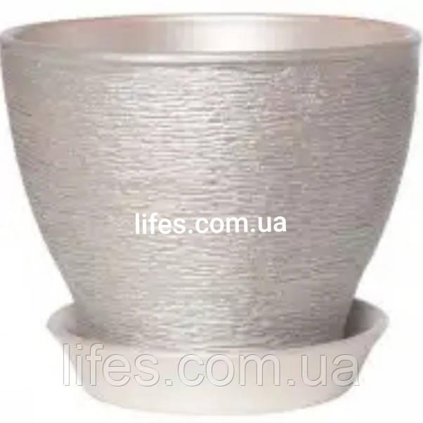 Вазон керамический серебро