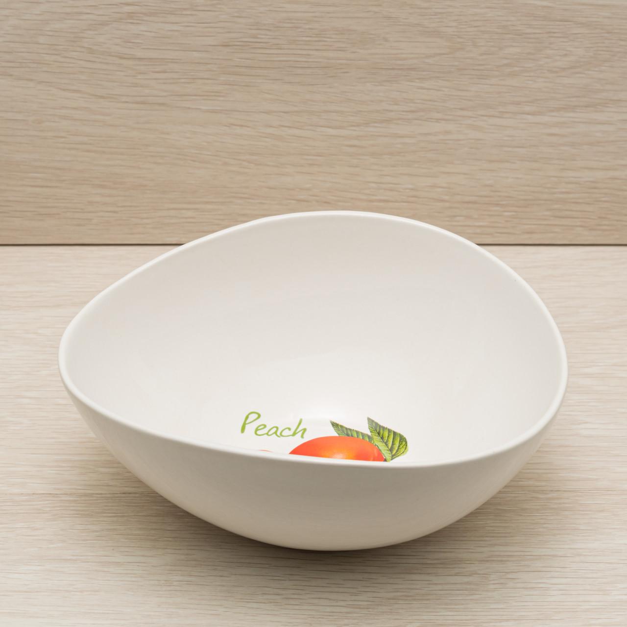 """Фарфоровый салатник """"Овал"""" 1,2 л белый с деколью"""