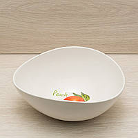 """Фарфоровый салатник """"Овал"""" 1,2 л белый с деколью, фото 1"""
