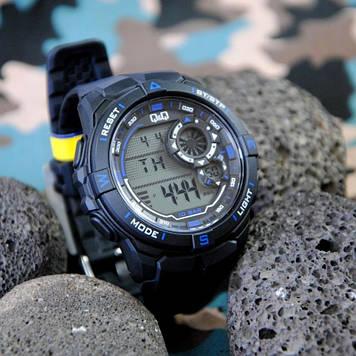 Q&Q M175J черные с синими вставками мужские спортивные часы
