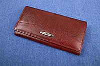 Жіночий шкіряний гаманець бордовий, фото 1