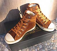 Кеды кожаные женские коричневые замшевые демисезонные 38