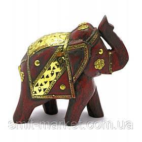 Слон деревянный винтажный с медными вставками (h-14 см)