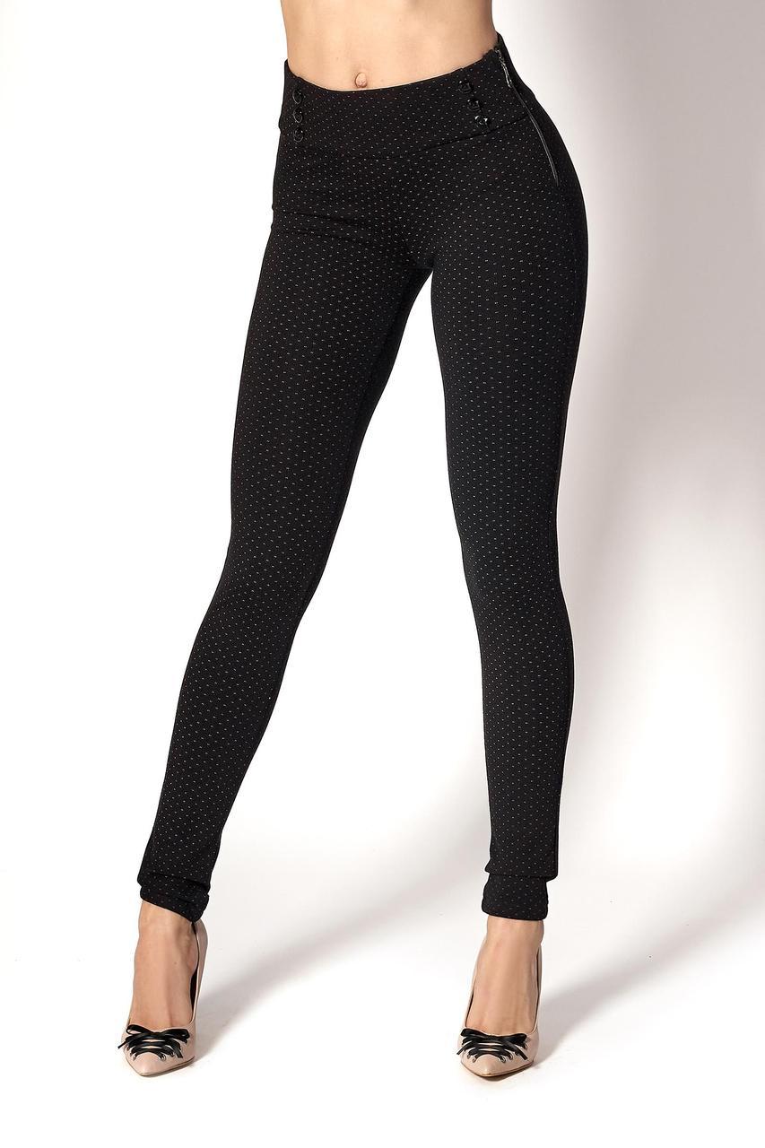 Плотные черные брюки-лосины в точку (Код BR-395)