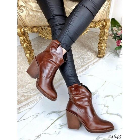 Женские ботинки коричневые казаки демисезонные кожаные нат кожа