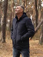 Куртка мужская демисезонная с капюшоном и тремя внешними карманами в темно-синем цвете 50-58 размер «КМ-3.2»