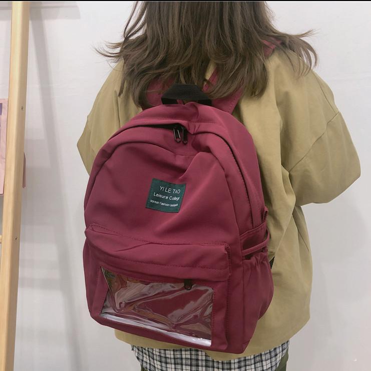Городской рюкзак  бордовый в корейском стиле унисекс