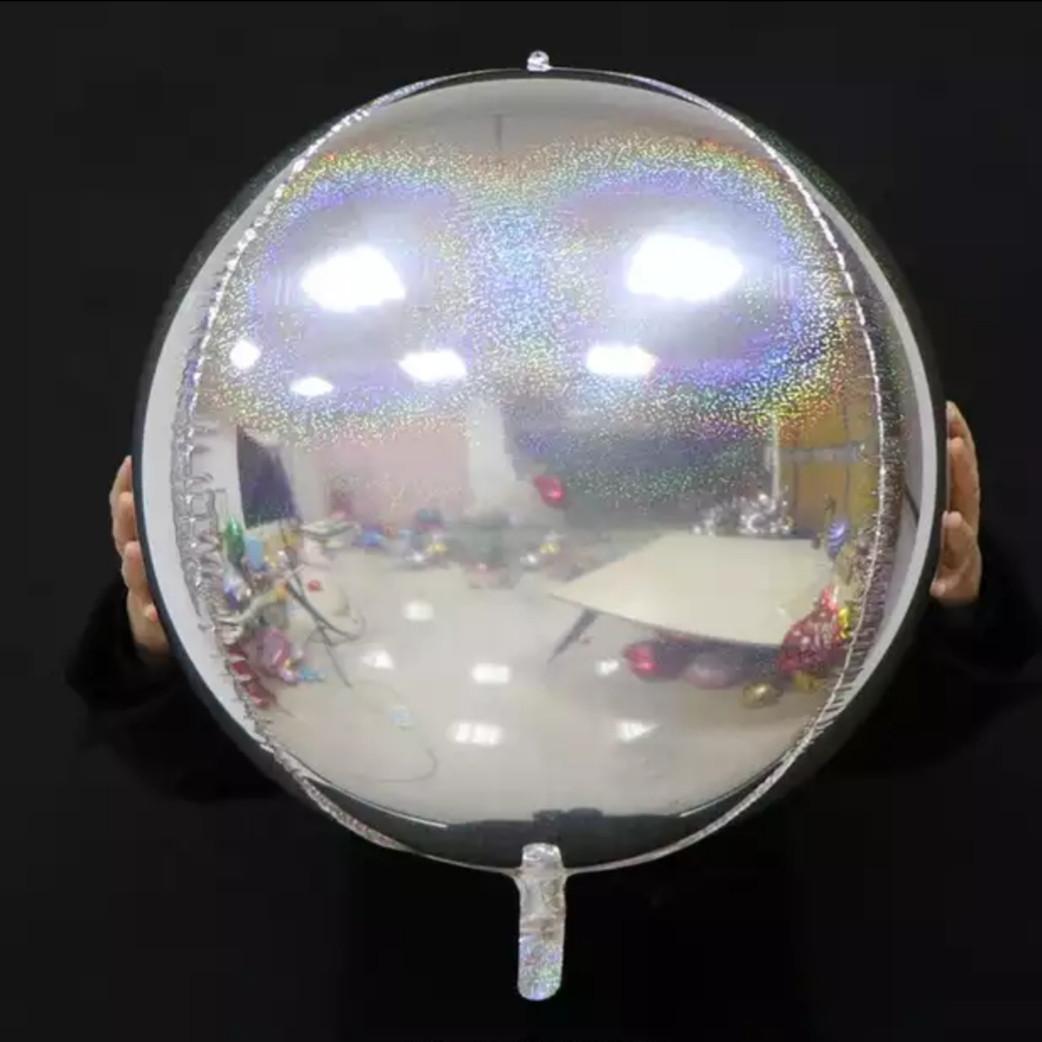 """Шар сфера 4D голограмма серебро  22""""/55 см"""