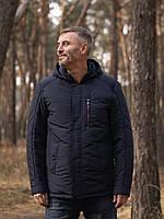 Куртка мужская демисезонная с капюшоном и тремя внешними карманами в темно-синем цвете 50-58 размер «КМ-3.1»