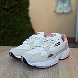 Жіночі кросівки Adidas Falcon білі з пудрою. Живе фото. Репліка, фото 3