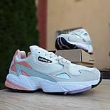 Жіночі кросівки Adidas Falcon білі з пудрою. Живе фото. Репліка, фото 4