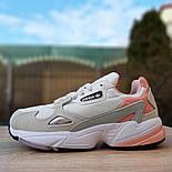 Жіночі кросівки Adidas Falcon білі з пудрою. Живе фото. Репліка, фото 5