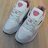 Жіночі кросівки Adidas Falcon білі з пудрою. Живе фото. Репліка, фото 6