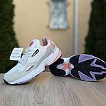 Жіночі кросівки Adidas Falcon білі з пудрою. Живе фото. Репліка, фото 7