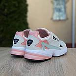 Жіночі кросівки Adidas Falcon білі з пудрою. Живе фото. Репліка, фото 8