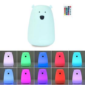 Детский силиконовый ночник игрушка Мишка голубой 16 цветов Пульт ДУ