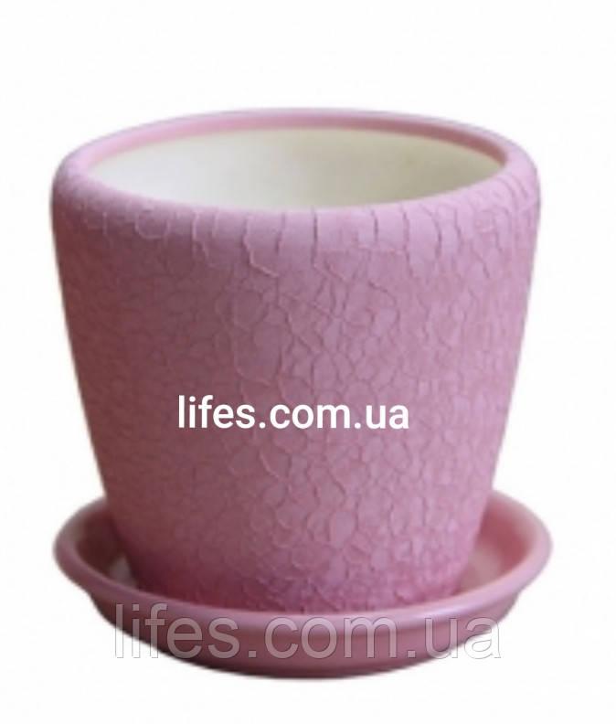 Вазон керамический розовая шелкография
