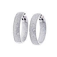 Серебряные серьги-кольца GS с фианитами (родий)