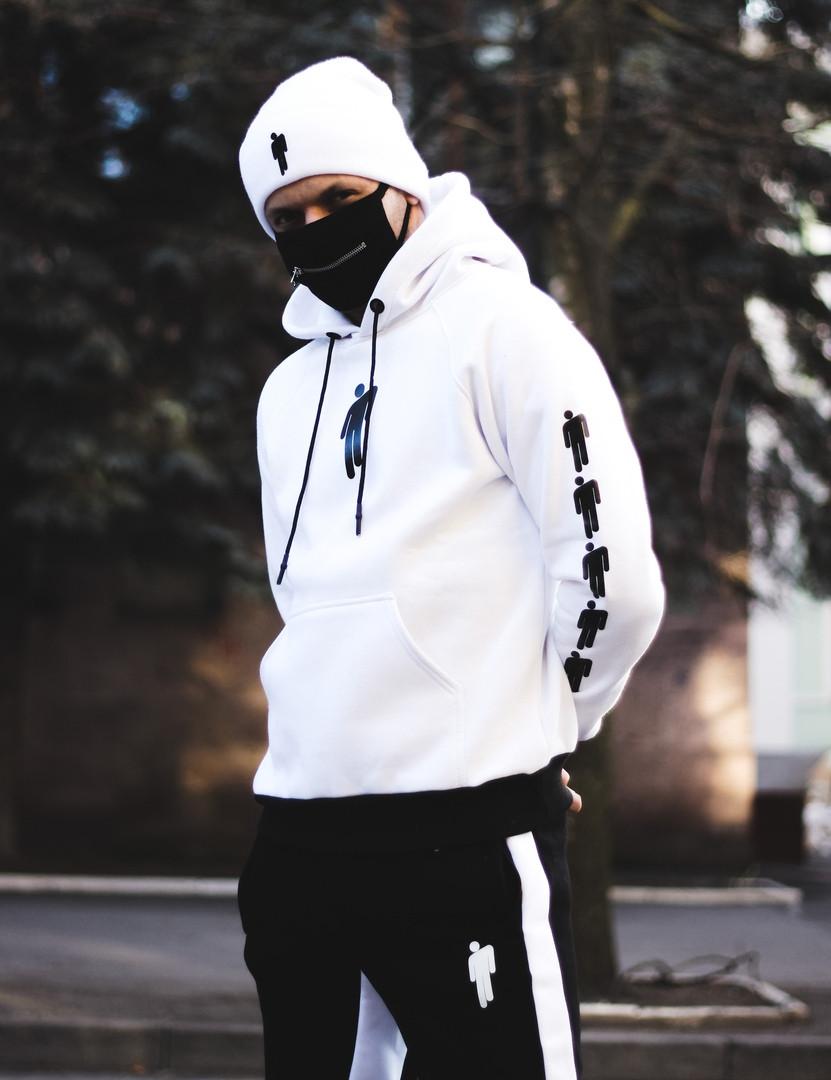 Мужской спортивный костюм зимний Билли с капюшоном теплый на флисе белый с черным. Живое фото