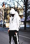 Мужской спортивный костюм зимний Билли с капюшоном теплый на флисе белый с черным. Живое фото, фото 2