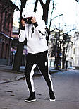 Мужской спортивный костюм зимний Билли с капюшоном теплый на флисе белый с черным. Живое фото, фото 3