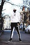 Мужской спортивный костюм зимний Билли с капюшоном теплый на флисе белый с черным. Живое фото, фото 5