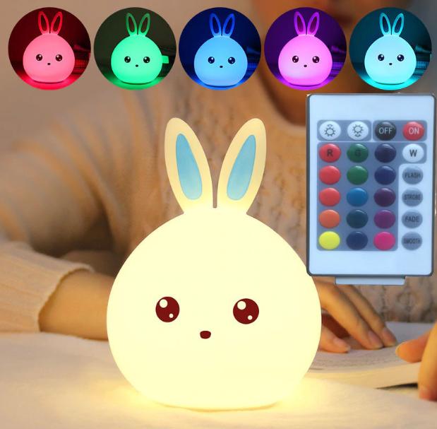 Детский силиконовый ночник игрушка Кролик с голубыми ушками 16 цветов Пульт ДУ